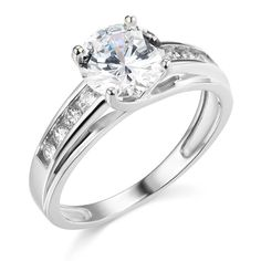 14K White Gold SOLID Wedding Engagement Ring - Size 4.5. Band Width : 2.5 mm. Center Stone : 1.5 carat. AAA grade Cubic Zirconia. Will be Shipped Today or Tomorrow. Promptly Packaged with Free Gift Box.
