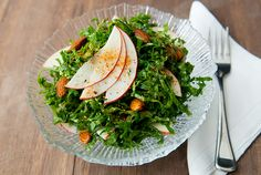 Shredded kale salad with orange vinaigrette apples almonds and togarashi. Kale Apple Salad, Kale Salad Recipes, Top Recipes, Healthy Recipes, Healthy Foods, Orange Salad, Food Diary, Soup And Salad, Healthy Eating
