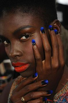 """beautylish:    Check out how to get these """"Lethal Love"""" gradient nails seen on the Jen Kao Spring/Summer 2012runway at New York Fashion Week! They were inspired by poisonous frogs! (Image courtesy of CND)"""