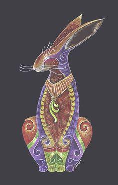 Ninth in the Totem Series The Hare Totem . Art by Jezhawk Designs aka Jennifer Hawkyard