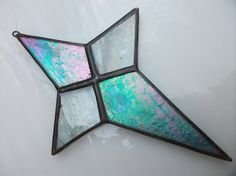 Turquoise Blue and Wispy White STAINED GLASS by a1debsglass