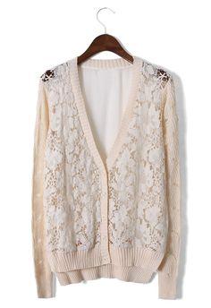 Lace Crochet Cardigan with Chiffon Back
