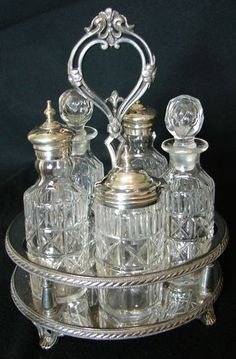 Antique Atkin Bros Sheffield 6 Bottle Silver Plated Glass Cruet Condiment Set | eBay
