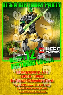 LEGO HERO FACTORY 4X6 INVITATIONS WITH ENVELOPES