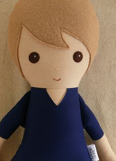 Fabric Doll Rag Doll Light Brown Haired Boy in by rovingovine