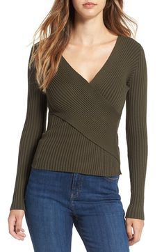Free shipping and returns on ASTR Cross Front Rib Knit Sweater at Nordstrom.com. Richly textured ribbed knitting adds dimensional, figure-flattering appeal to a cotton-blend sweater with an elegant surplice neckline and roll-ready sleeves.