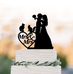 lesbian Wedding Cake topper with two cats Mrs and Mrs same