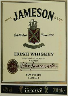 jameson label | the spirit of ireland jameson whiskey label