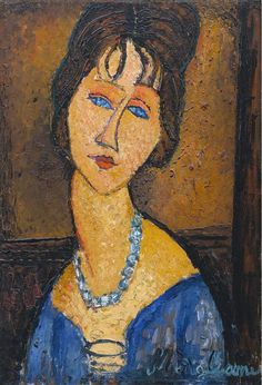 Jeanne Hebuterne with Necklace, by artist Amedeo Modigliani. hand-painted museum quality oil painting reproduction on canvas. Amedeo Modigliani, Modigliani Paintings, Italian Painters, Italian Artist, Henri Matisse, Oil Painting Reproductions, Pablo Picasso, Famous Artists, Oeuvre D'art