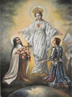 Santa teresita y San Juana de Arco bajo el manto de la Virgen
