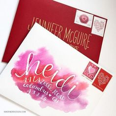 Hand Lettered Wedding Invitation Inspiration | Watercolor details are one of the biggest trends in weddings, so why not incorporate the look with your invites? This bride inverted the watercolor scheme with complimentary pinks, reds and purples.