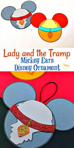 Try out this Lady and the Tramp Mickey Ears Disney Ornament Craft from Sunshine Whispers! This ornament craft is perfect for little Disney-lovers. Your kids will love hanging this creative ornament on the Christmas tree! | Disney crafts for kids #christmas #ornament #christmasornament #diyornaments #disneycrafts #disneyfun