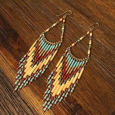 Turquoise bead earrings  Beaded Chandelier by TezzoroDesigns