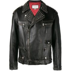 Gucci King Charles Spaniel biker jacket (33.980 RON) ❤ liked on Polyvore featuring men's fashion, men's clothing, men's outerwear, men's jackets, black, mens leather biker jacket, mens leather moto jacket, mens leather jackets, mens studded leather jacket and mens leather motorcycle jacket