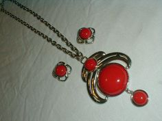 vintage kramer silver red necklace clip earring set mod pendant - Quality Vintage Jewelry
