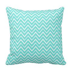 Aqua teal whimsical zigzag chevron pattern pillow