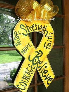 Awareness Ribbon Door Hanger by BronwynHanahanArt on Etsy