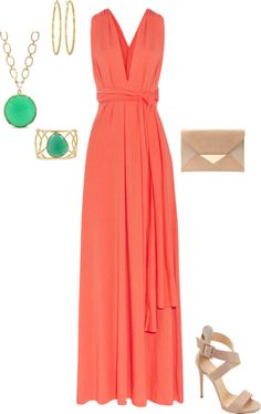 """""""Coral and Mint"""" by lmantilla on Polyvore"""
