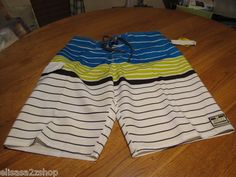 Men's Quiksilver surf board 34 shorts 4 way stretch skate white trolling 22 NEW