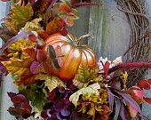 Autumn Wreaths, Pumpkin Decor,  Fall Woodland Wreath, Halloween Decor
