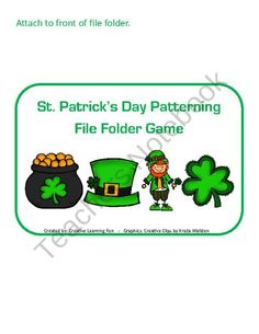 FREE St. Patricks Day Patterning File Folder Game product from Creative-Learning-Fun on TeachersNotebook.com