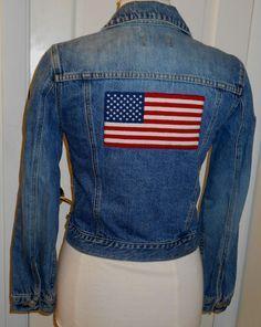 e00c69e356 Vtg 1990 s POLO RALPH LAUREN Denim Jeans Embroidered USA Flag Patriotic  Jacket~S