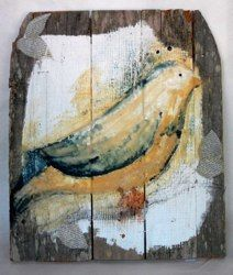 """Blue Bird"" encaustic. Love this on the distressed wood!"