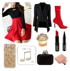 A fashion look from December 2016 featuring red dresses, blazer jacket and red boots. Browse and shop related looks. Red Boots, Blazer Jacket, Jimmy Choo, Plugs, Berry, Alexander Mcqueen, Lord, Fashion Looks, Happy