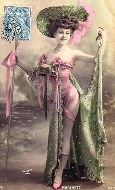Folies Bergères costume, from Belle Époque postcard, by Walery, French, 1863-1935, circa 1900.