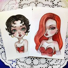 Sexy Jessica Rabbit and Betty Boop  These arts are available in my Etsy  Link in profile  #art #illustration #postcard #etsy #jessica #bettyboop #watercolor #beautifulbizarre #blackfury