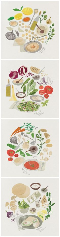 Food illustrations for Nanoosh Hummus Bar by Heidi Schweigert: