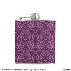 """""""Pink helices"""" arabesque pattern in pink & purple Hip Flask  Up to 50% Off Popular Products & 20% Off Everything Else! Use Code: DESIGNZSPACE Ends Tuesday       #pink, #purple, #helix, #helices, #pattern, #dots, #abstract, #lace, #lines, #spiral, #spirals, #curve, #curves, #flask"""