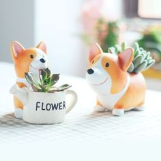 Mini-Welsh-Corgi-DOG-Plant-Flower-Pot-Garden-Home-Decor-Planter-Vase-Zakka-NEW