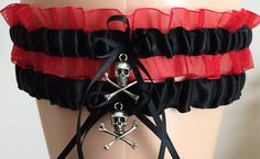 This garter set can be used for a gothic wedding!  Black and Red Organza Wedding Garter Set, Prom Garter Set