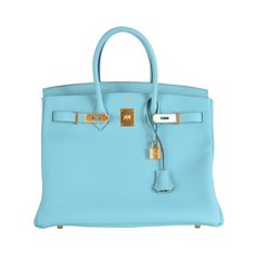 <3 HERMES BIRKIN BAG BLEU ATOLL TOGO TIFFANY BLUE GOLD HARDWARE JaneFinds | From a collection of rare vintage top handle bags at https://www.1stdibs.com/fashion/handbags-purses-bags/top-handle-bags/