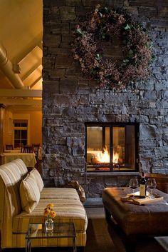 Stunning fireplace at The Jackson House Inn - Woodstock, Vermont