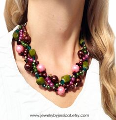 Perfect for Fall! Make a statement in mauve, browns, pinks, and greens!    PETITE TWISTED Statement Necklace Brown Green by JewelryByJessicaT,