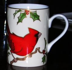 Fitz and Floyd CHRISTMAS HOLLY Cardinal Mug - pinned by pin4etsy.com