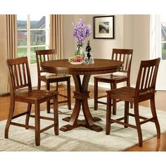 Furniture of America Ralphie Industrial Style Dark Oak Counter Height Dining Table