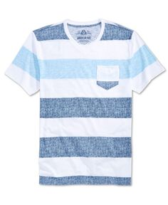 A textured look is complemented by a classic stripe pattern on this V-neck tee from American Rag. | Cotton/polyester | Machine washable | Imported | V-neck | Short sleeves | Chest pocket | Stripe patt