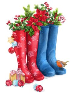 Lisa Alderson - LA - Two Christmas Wellies Lo-res Merry Christmas, Vintage Christmas Cards, Christmas Pictures, Xmas Cards, All Things Christmas, Winter Christmas, Christmas Printables, Christmas Themes, Christmas Crafts