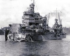 U.S.S. New Orleans after being hit by a torpedo 1942
