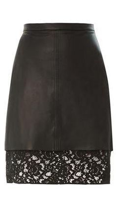 Pizval Lace-hem Leather Skirt