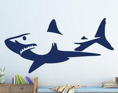 Shark - shark decal/ shark sticker/ shark wall decal/ great white shark/ shark wall art/ underwater decal/ shark week/ boy room decor/ beach