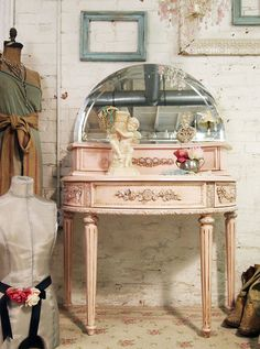 Shabby Pink Painted Cottage Vanity VAN216 by paintedcottages