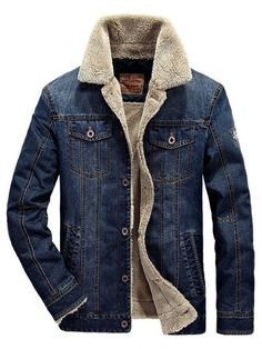 f8bf983890a8 Shearling Lapel Thicken Warm Slim Men s Denim Jacket Denim Jacket With Fur,  Denim Jackets,