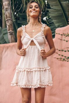 Come And Get It Ruffle Shift Dress Beige   Hello Molly   Hello Molly