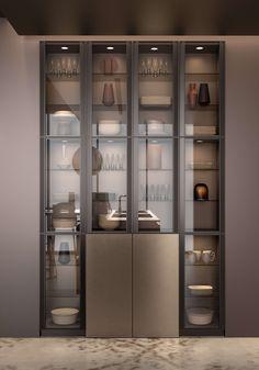 Design and modern cuisine for a subtly masculine atmosphere - - Crockery Unit Design, Crockery Unit, Kitchen Room Design, House Interior, Kitchen Furniture Design, Modern Kitchen Design, Pantry Design, Home Interior Design, Living Room Design Modern