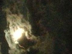 Moon outside my studio over sea
