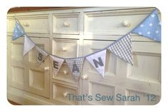 Personalised bunting www.facebook.com/ThatsSewSarahHandmadeGifts |Pinned from PinTo for iPad|